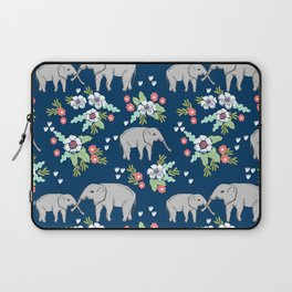 Elephants pattern navy blue with florals cute nursery baby animals lucky gifts Laptop Sleeve