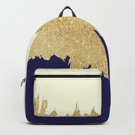 Navy blue ivory faux gold glitter brushstrokes Backpack