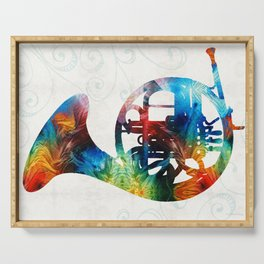 Colorful French Horn - Color Fusion By Sharon Cummings Serving Tray