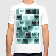 Monochrome hearts pattern MEDIUM Mens Fitted Tee White