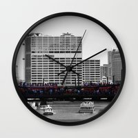 blackhawks Wall Clocks featuring Chicago Blackhawks 2013 Championship Parade Route by Michael A. Hubatch