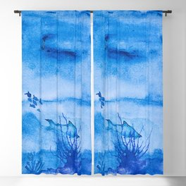 Great white in blue Blackout Curtain