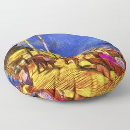 Istanbul At Night Van Gogh Floor Pillow
