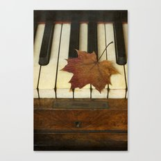 Maple Leaf and Piano Canvas Print