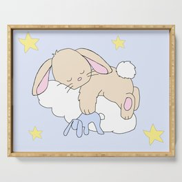 Floppy Ears Woodland Baby Bunny Sleeping on Cloud in Starry Night Sky Serving Tray