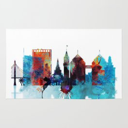 Oakland Skyline Blue Watercolor City Rug