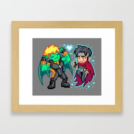 Teddy & Billy, Gay Nerds in Love - Pixel Art Framed Art Print