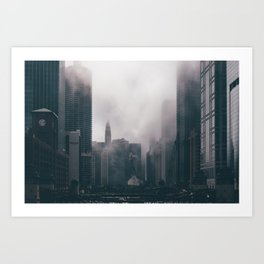 Chicago Shrouded in Fog Art Print