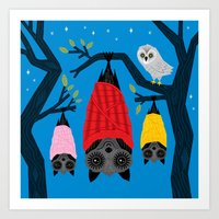 blankets Art Prints featuring Bats in Blankets by Oliver Lake