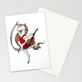 Dancing Unicorn Violin Music Player Stationery Cards
