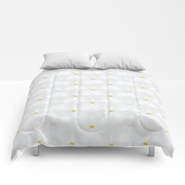 Abstract white quilted pattern with gold dots Comforters