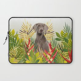 Weimaraner Dog in garden Laptop Sleeve