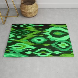 MODERN IKAT TRIBAL PATTERN | green Rug