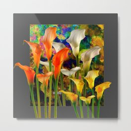 Orange Ivory & Golden Color Calla Lilies Golden Art Metal Print