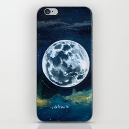 Full Moon Mixed Media Painting iPhone Skin