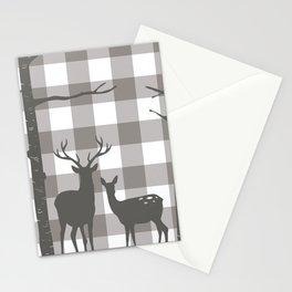 Deer & Birch Grey Plaid Stationery Cards