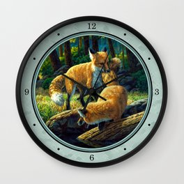 Red Fox Pups Playing Wall Clock