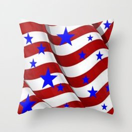 PATRIOTIC JULY 4TH BLUE STARS DECORATIVE ART Throw Pillow