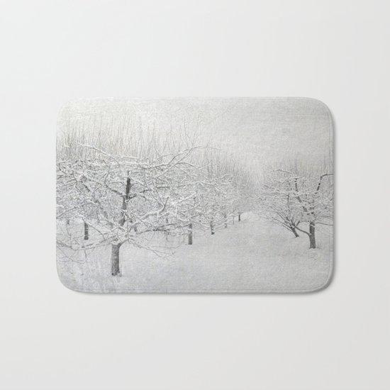 Winter Apple Orchard Bath Mat