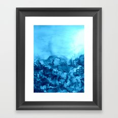 INTO ETERNITY, TURQUOISE Colorful Aqua Blue Watercolor Painting Abstract Art Floral Landscape Nature Framed Art Print
