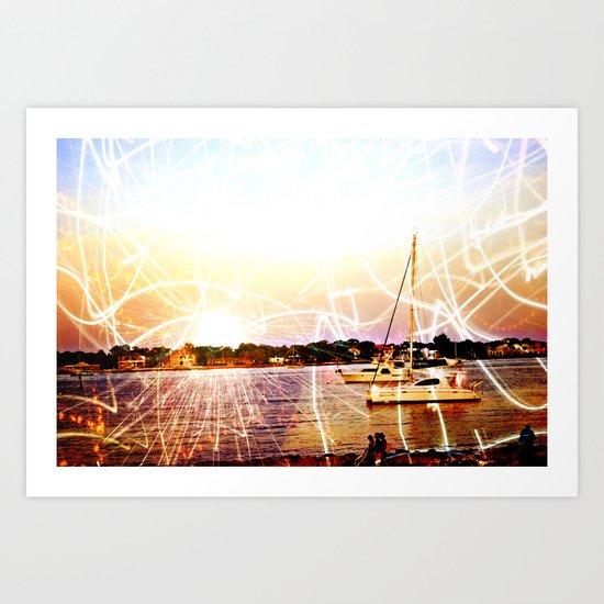 Boats and Lights Art Print