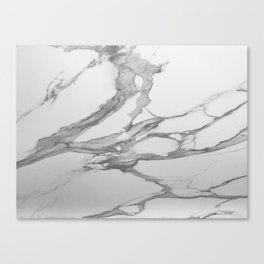 White Marble With Silver-Grey Veins Canvas Print