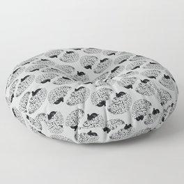 Braaains (black on grey) Floor Pillow
