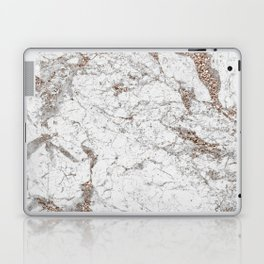 White frost - rose gold marble Laptop & iPad Skin