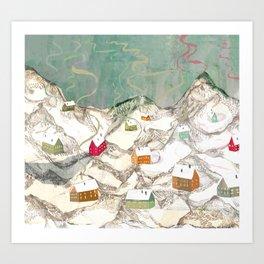 Huts in the Mountais Art Print