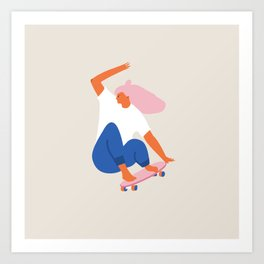Skateboard girl Art Print
