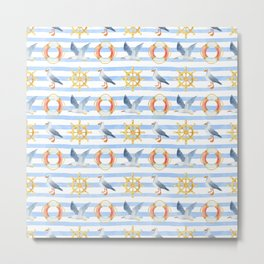 Sea summer. Seagull. Marine theme. Nautical. Beach print Metal Print