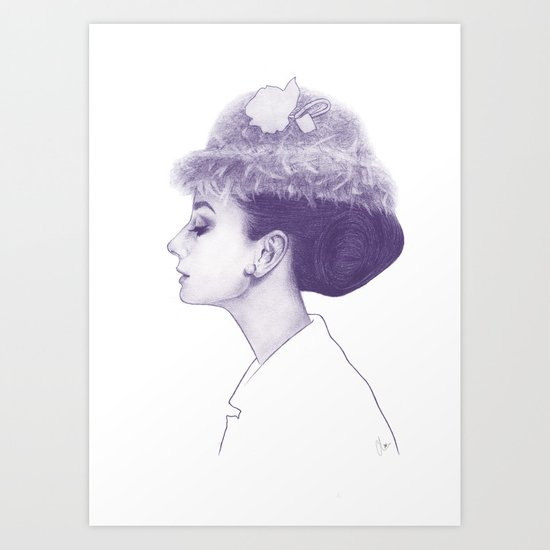 Audrey Hepburn in Purple  Art Print
