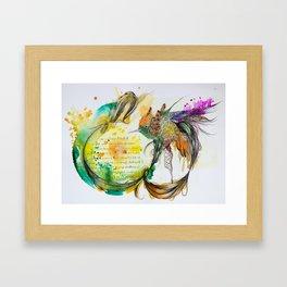 Green Swirl Hummingbird Framed Art Print
