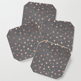 Rose gold Christmas stars geometric pattern grey graphite industrial cement concrete Coaster