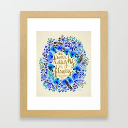 The Earth Laughs in Flowers – Gold & Blue Framed Art Print