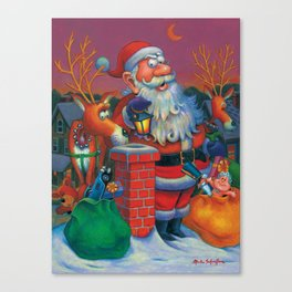 Santa's in a Tight Spot Canvas Print