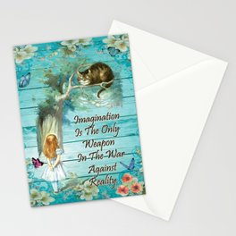 Floral Alice In Wonderland Quote - Imagination Stationery Cards