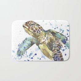 Abstract Watercolor Sea Turtle on White 2 Minimalist Coastal Art - Coast - Sea - Beach - Shore Bath Mat