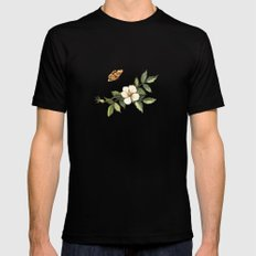 Delicate pattern with flowers and butterflies hips MEDIUM Black Mens Fitted Tee