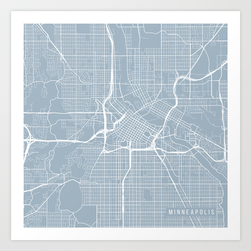 Minneapolis Map, USA - Slate Art Print