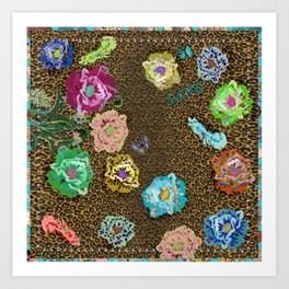 Leopard love flowers Art Print