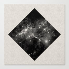 Space Diamond - Abstract, geometric space scene in black and white Canvas Print