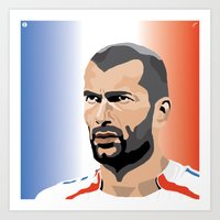 zidane Art Prints featuring Zinedine Zidane Illustration by Stephanie Post