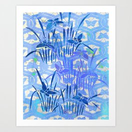 Blue Chinoiserie Butterfly On the Pond Art Print