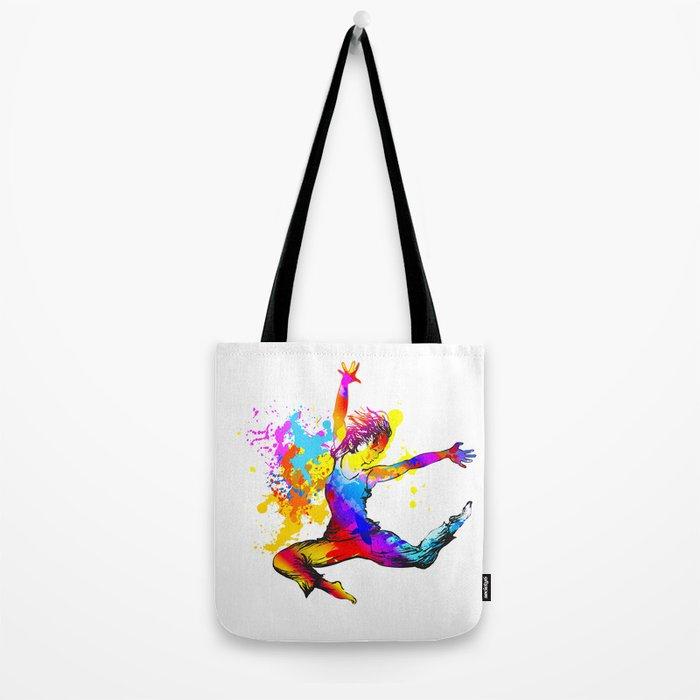Hip hop dancer jumping Tote Bag