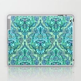 Botanical Moroccan Doodle Pattern in Mint Green, Lilac & Aqua Laptop & iPad Skin