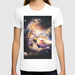 Galaxy Space Cat Reaching Burger With Laser T-shirt