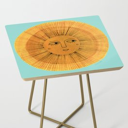 Sun Drawing - Gold and Blue Side Table