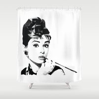 audrey hepburn Shower Curtains featuring audrey hepburn by gazonula