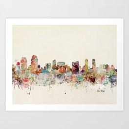 san diego california skyline Art Print